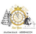 watercolor retro illustration....   Shutterstock . vector #688846324