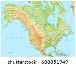 north america physical map.... | Shutterstock .eps vector #688851949