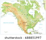 north america physical map... | Shutterstock .eps vector #688851997