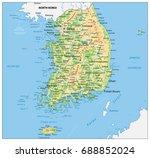 south korea physical map....   Shutterstock .eps vector #688852024