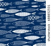 seamless pattern of ornamental... | Shutterstock .eps vector #688852531