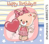 greeting card cute cartoon... | Shutterstock .eps vector #688852771