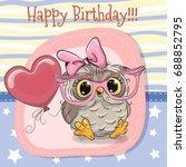 greeting card cute cartoon owl...   Shutterstock .eps vector #688852795