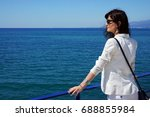 the beautiful girl on  holidays ... | Shutterstock . vector #688855984