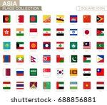 square flags of asia. from... | Shutterstock .eps vector #688856881