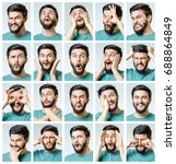 set of young man's portraits... | Shutterstock . vector #688864849