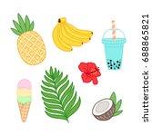 summer tropical set with banana ... | Shutterstock .eps vector #688865821