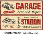 vintage car metal sign... | Shutterstock .eps vector #688867261