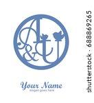 a u initial wedding decorative... | Shutterstock .eps vector #688869265