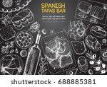 spanish cuisine top view frame. ... | Shutterstock .eps vector #688885381