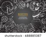 spanish cuisine top view frame. ... | Shutterstock .eps vector #688885387