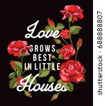embroidery roses  print fashion ... | Shutterstock .eps vector #688888807