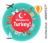 turkish famous landmarks around ... | Shutterstock .eps vector #688895377