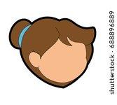 girl face icon | Shutterstock .eps vector #688896889