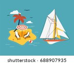 cool vector set of sailing... | Shutterstock .eps vector #688907935