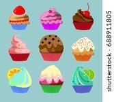 set of nine different cakes... | Shutterstock .eps vector #688911805