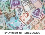 variety of middle east banknotes | Shutterstock . vector #688920307