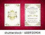 christmas posters with golden...   Shutterstock .eps vector #688920904