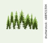 spruce forest. green and beige... | Shutterstock .eps vector #688921504