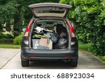 suv packed quickly with...   Shutterstock . vector #688923034