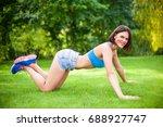 beautiful sporty woman doing...   Shutterstock . vector #688927747