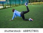 beautiful sporty woman doing...   Shutterstock . vector #688927801