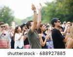 moscow 9 july 2017 music fan... | Shutterstock . vector #688927885