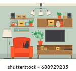 illustration with modern living ... | Shutterstock .eps vector #688929235