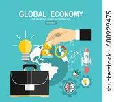 flat design concepts for global ... | Shutterstock .eps vector #688929475