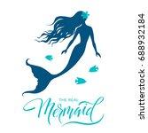 mermaid  silhouette  hand drawn ... | Shutterstock .eps vector #688932184
