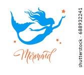 mermaid  silhouette  hand drawn ...   Shutterstock .eps vector #688932241