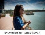 portrait of a girl near sava... | Shutterstock . vector #688946914