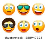 smiley with blue eyes emoticon... | Shutterstock .eps vector #688947325