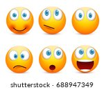 smiley with blue eyes emoticon... | Shutterstock .eps vector #688947349