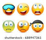 smiley with blue eyes emoticon... | Shutterstock .eps vector #688947361