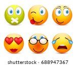 smiley with blue eyes emoticon... | Shutterstock .eps vector #688947367