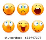 smiley with blue eyes emoticon... | Shutterstock .eps vector #688947379