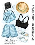 stylish summer clothing set... | Shutterstock .eps vector #688948471