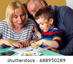 grandmother and grandfather... | Shutterstock . vector #688950289
