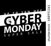 cyber monday super sale poster. ... | Shutterstock .eps vector #688951261