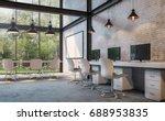 Loft Style Office 3d Rendering...