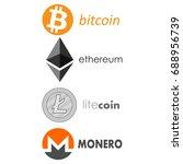 bitcoin   ethereum  litecoin  ... | Shutterstock .eps vector #688956739