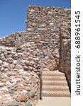 Small photo of Tuzigoot National Monument. Clarkdale, AZ. Re-constructed 1935-37. Native American Indian Pueblo. Original ruins 1125 to 1400 A.D. by the Senagau