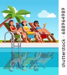 three woman in swimsuits lying... | Shutterstock .eps vector #688964989