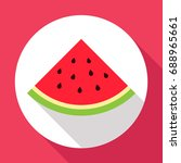 watermelon flat icon with long... | Shutterstock .eps vector #688965661