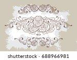 set of three hand drawn... | Shutterstock . vector #688966981