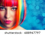 beautiful woman wearing... | Shutterstock . vector #688967797