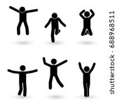 stick figure happiness  freedom ... | Shutterstock .eps vector #688968511