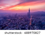 Sunrise Of City Taipei At Dawn...