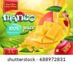 mango juice. sweet tropical... | Shutterstock .eps vector #688972831